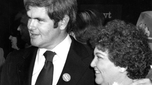 Wife #1: New Gingrich had a secret romance with Jackie Battley, his high school geometry teacher and married her after graduation.