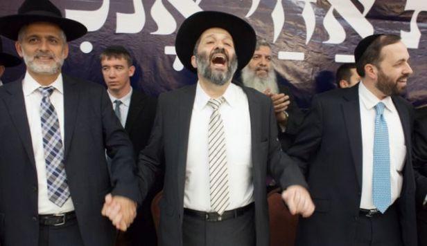 Eli Yishai, (left) Israel's Minister of the Interior, Aryeh Deri, head of the haredi-Sephardic Shas Party and Yishai's nephew and Shas MP Ariel Atias.