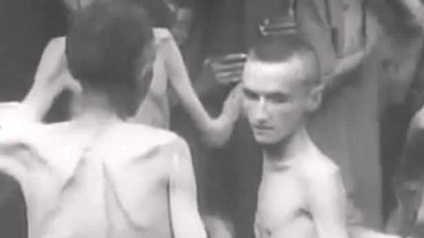 "A scene from Alfred Hitchcock's film ""Memory of the Camps."""