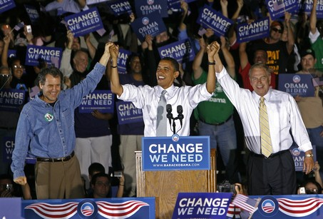 Barack Obama, Sherrod Brown, Ted Strickland